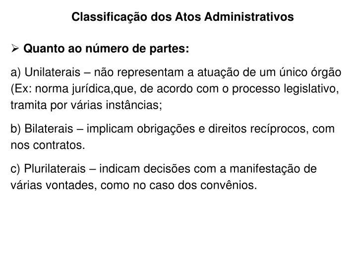 Classificação dos Atos Administrativos