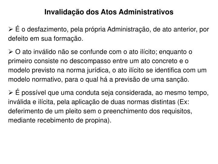 Invalidação dos Atos Administrativos