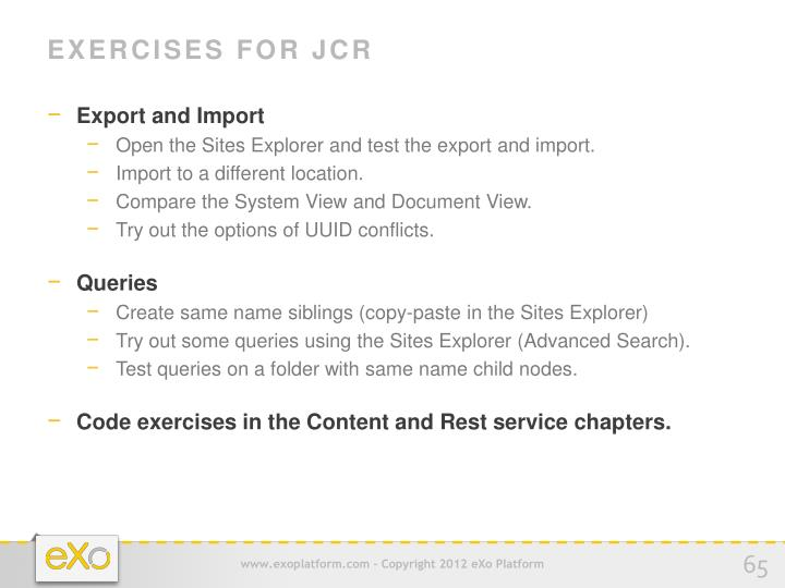 Exercises for JCR