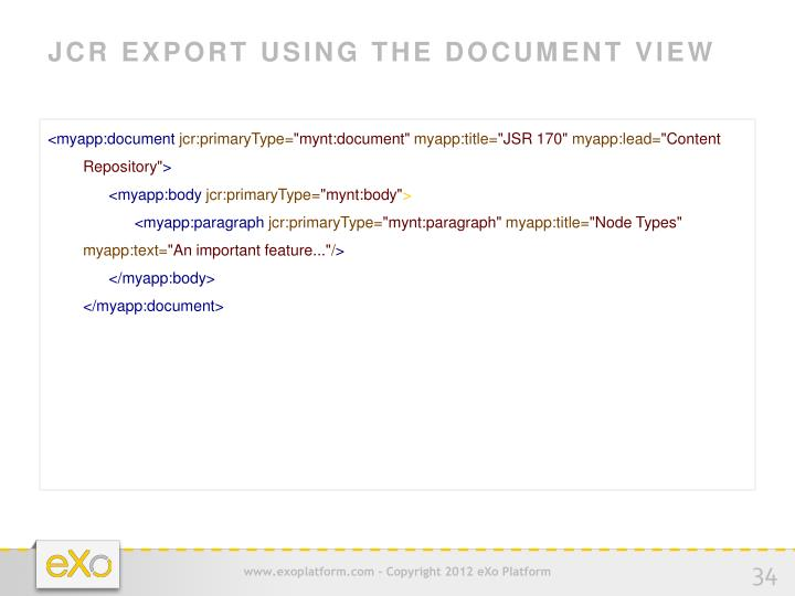 JCR EXPORT USING THE DOCUMENT VIEW