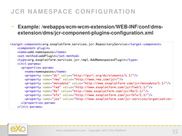 JCR Namespace Configuration