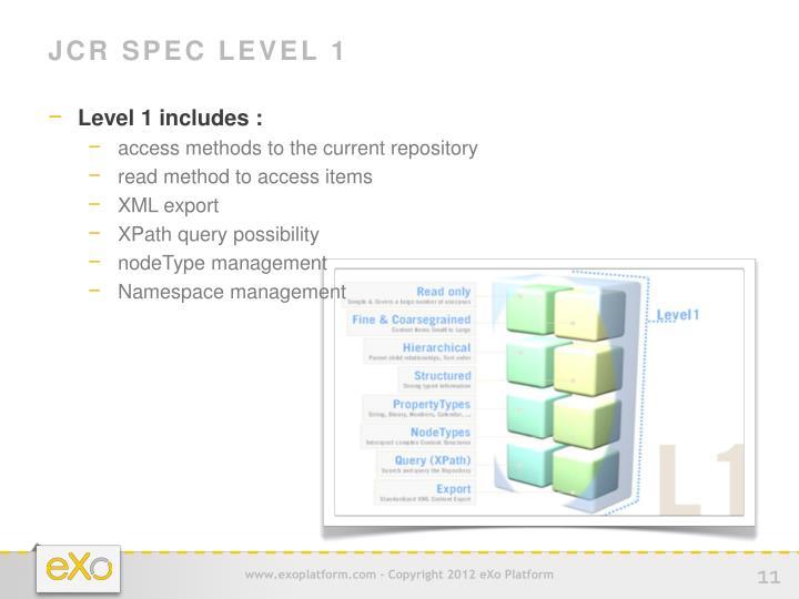 JCR Spec Level 1