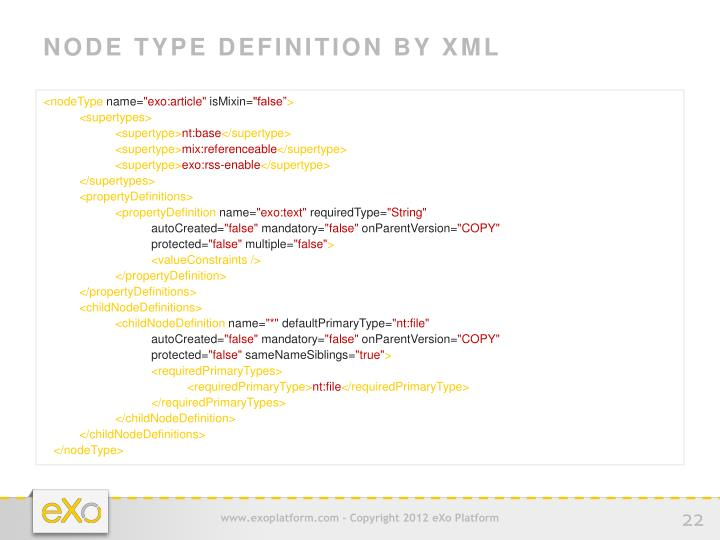 NODE TYPE DEFINITION BY XML