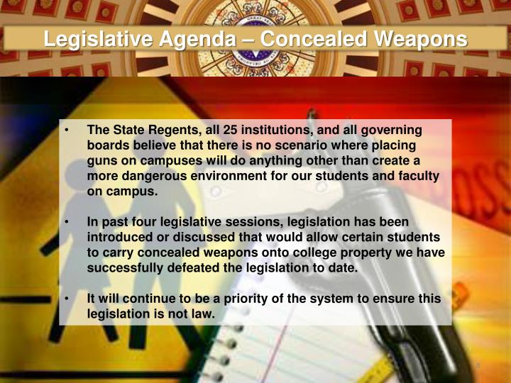 Legislative Agenda – Concealed Weapons