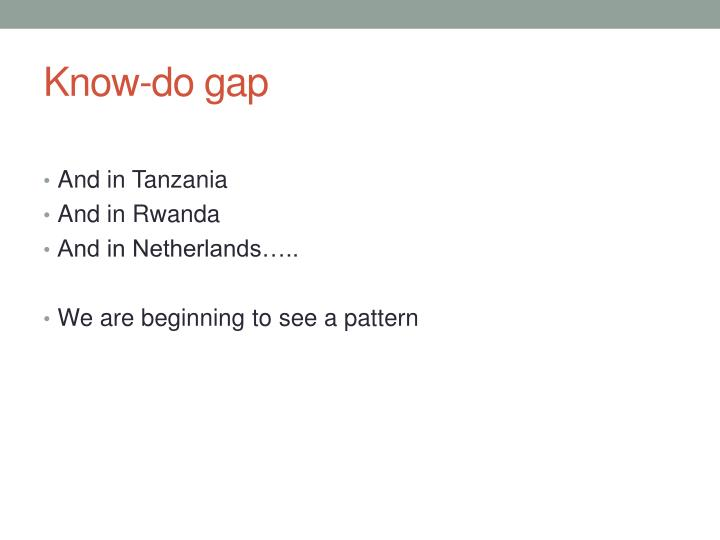 Know-do gap