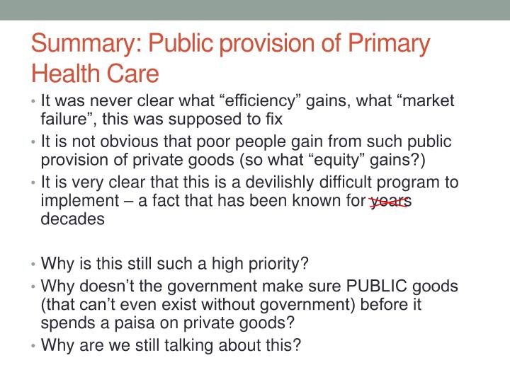 Summary: Public provision of Primary Health Care