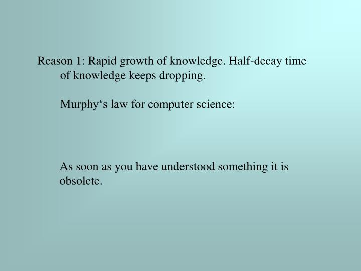Reason 1: Rapid growth of knowledge. Half-decay time of knowledge keeps dropping.