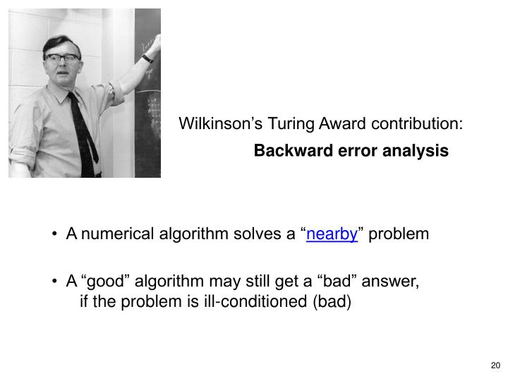 Wilkinson's Turing Award contribution: