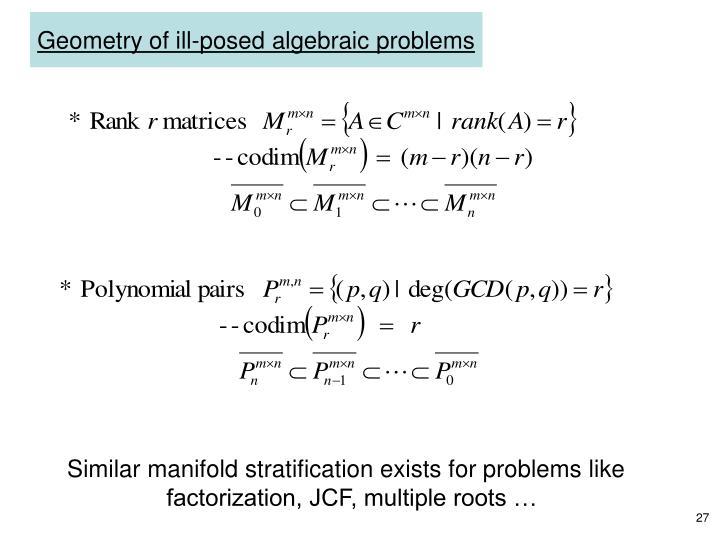Geometry of ill-posed algebraic problems