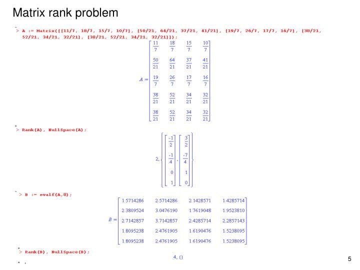 Matrix rank problem