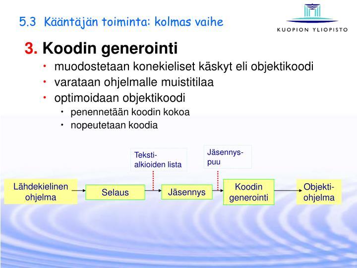 5.3  Kääntäjän toiminta: kolmas vaihe