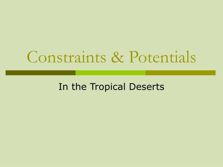 Constraints & Potentials