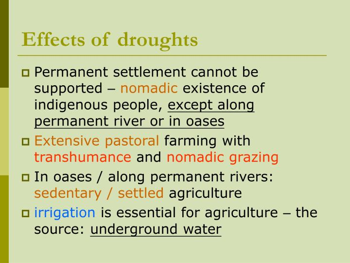 Effects of droughts