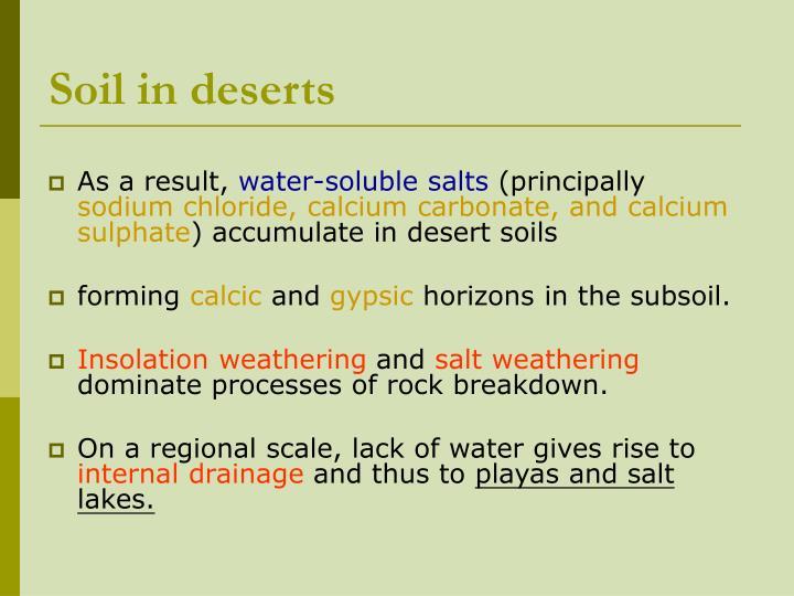 Soil in deserts