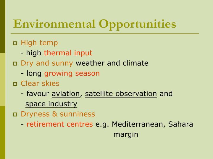 Environmental Opportunities