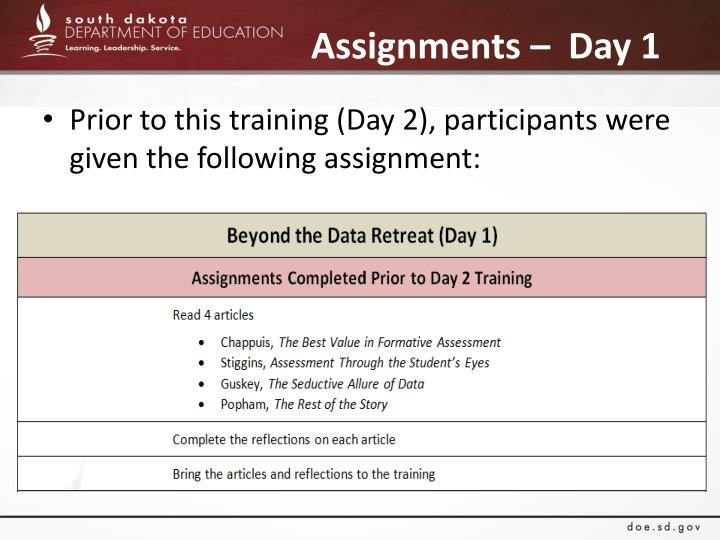 Assignments –  Day 1