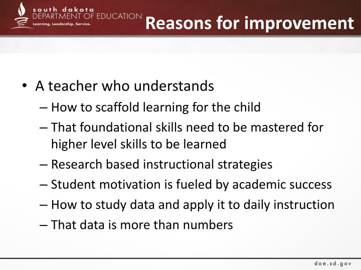 Reasons for improvement