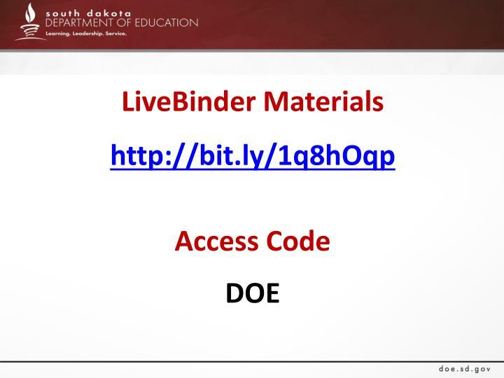 LiveBinder Materials