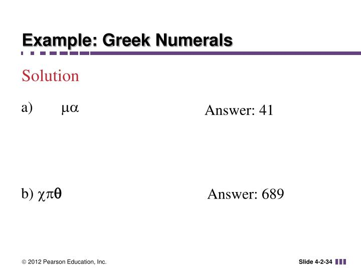 Example: Greek Numerals