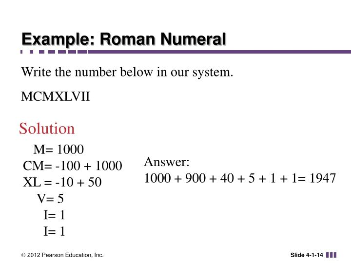 Example: Roman Numeral
