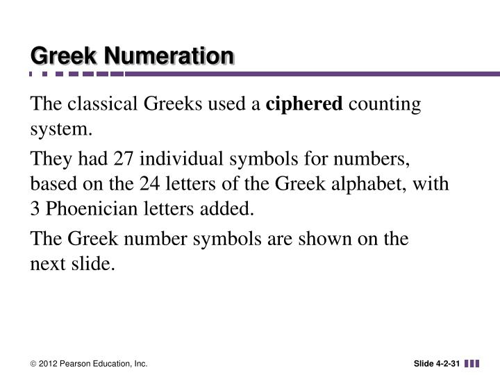 Greek Numeration