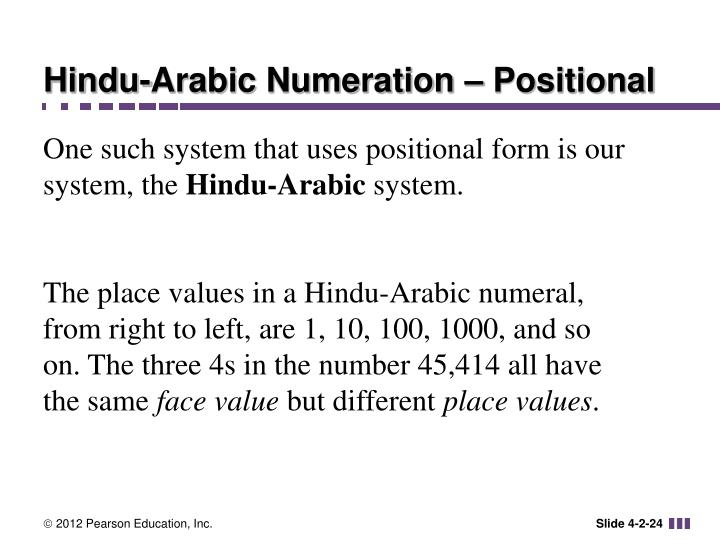 Hindu-Arabic Numeration – Positional
