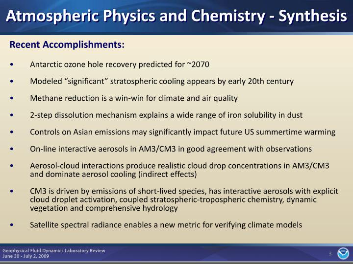 Atmospheric Physics and Chemistry - Synthesis