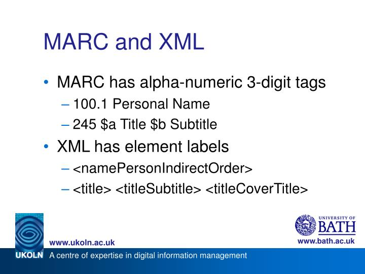 MARC and XML