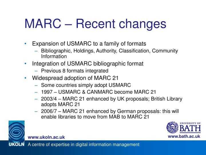 MARC – Recent changes