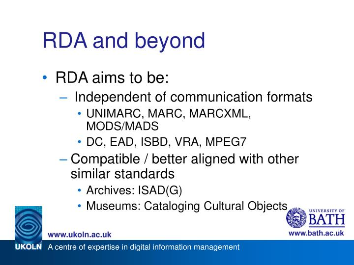 RDA and beyond