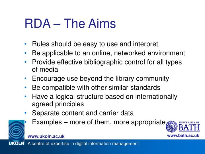 RDA – The Aims