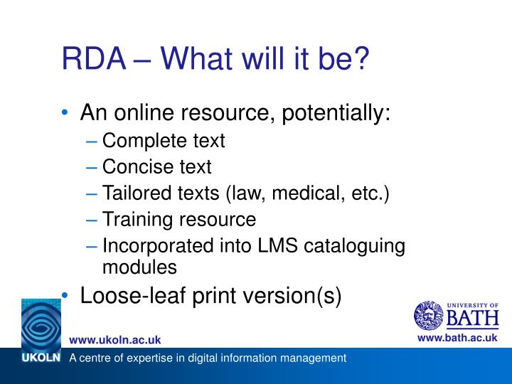 RDA – What will it be?