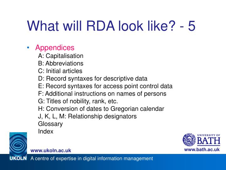What will RDA look like? - 5