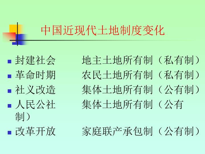 中国近现代土地制度变化