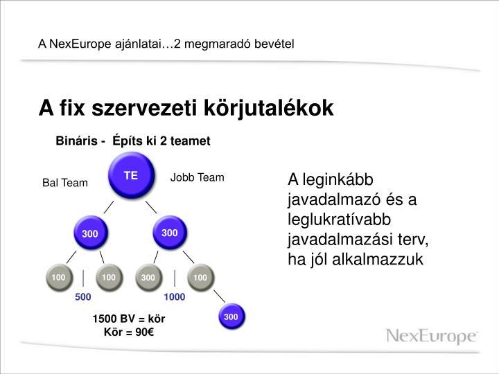 A NexEurope ajánlatai…2 megmaradó bevétel