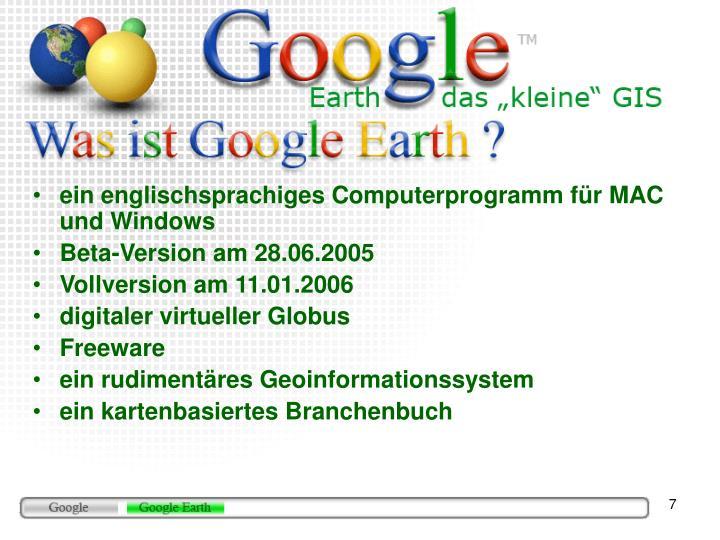 ein englischsprachiges Computerprogramm für MAC und Windows