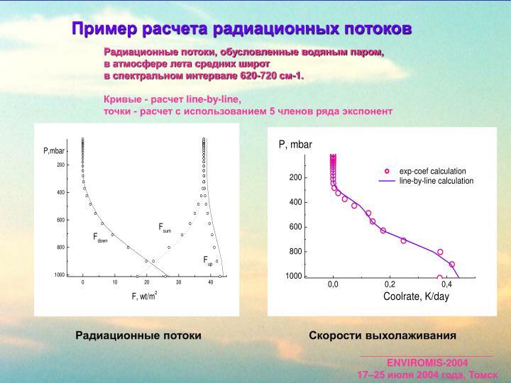 Пример расчета радиационных потоков