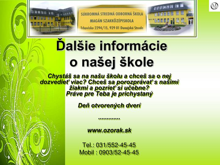 Ďalšie informácie