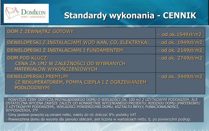Standardy wykonania - CENNIK