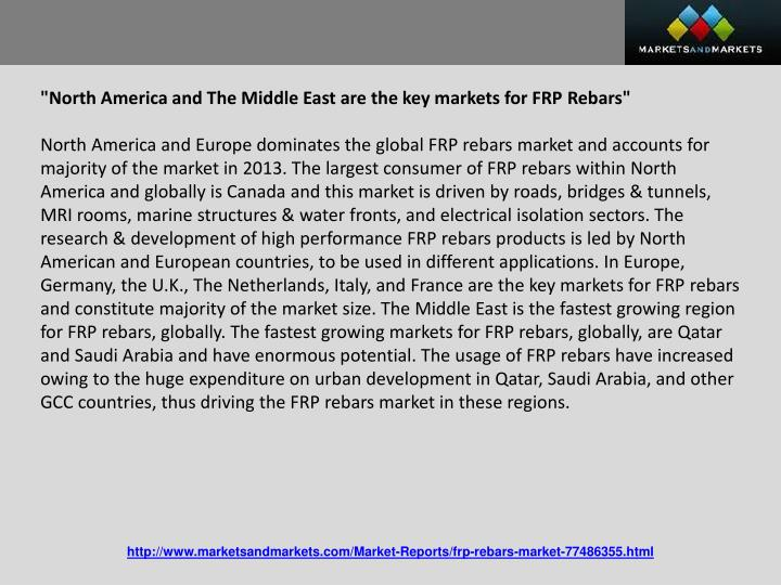 """North America and The Middle East are the key markets for FRP"