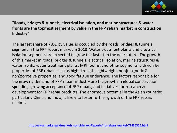 """Roads, bridges & tunnels, electrical isolation, and marine structures & water fronts are the topmost segment by value in the FRP"
