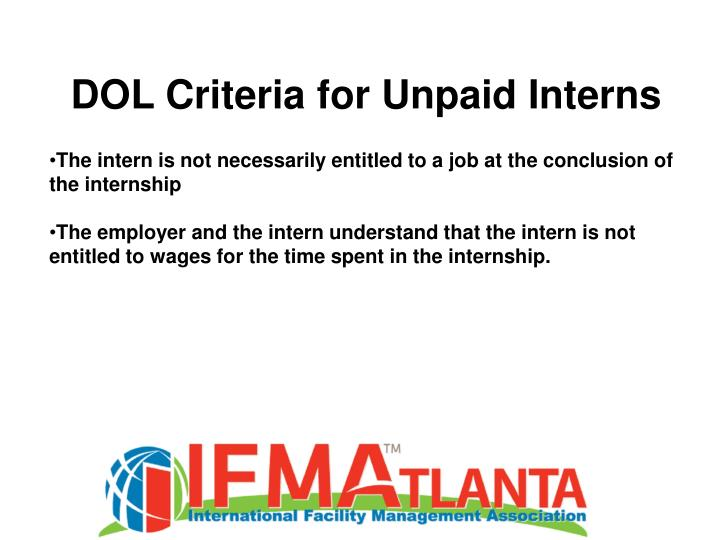 DOL Criteria for Unpaid Interns