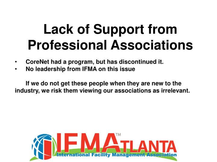 Lack of Support from Professional Associations