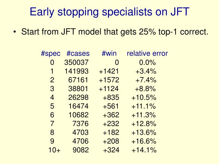 Early stopping specialists on JFT