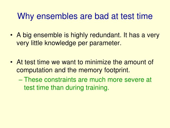Why ensembles are bad at test time