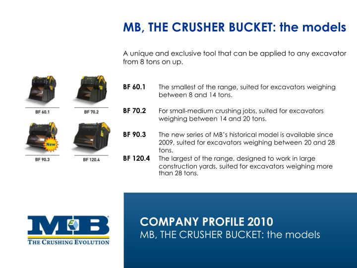 MB, THE CRUSHER BUCKET: the models