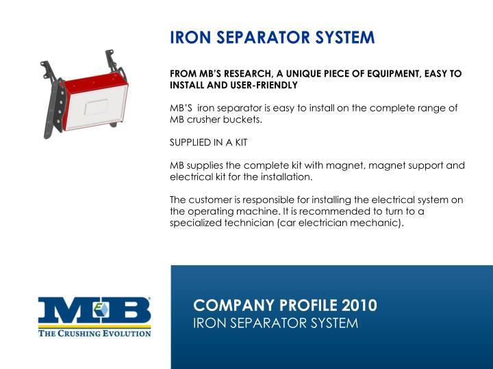 IRON SEPARATOR SYSTEM