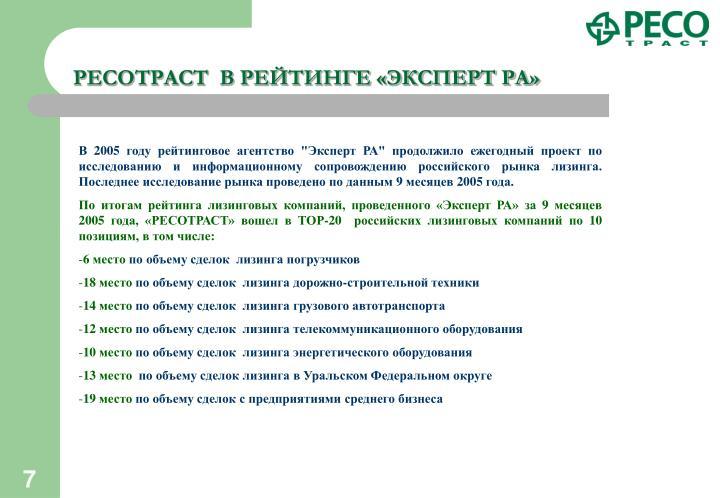 РЕСОТРАСТ  В РЕЙТИНГЕ «ЭКСПЕРТ РА»