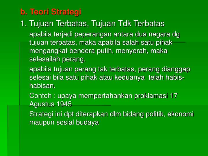 b. Teori Strategi