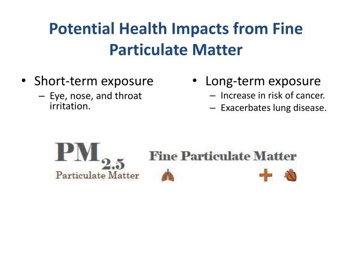 Potential Health Impacts from Fine Particulate Matter